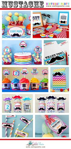 Little Man Mustache Bash BIRTHDAY Party Printable by OwliePowlie