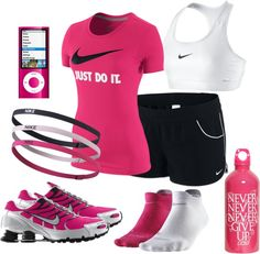 Nike Workout, created by qtpiekelso on Polyvore. I would like it more if it was like a green or an orange instead of pink.