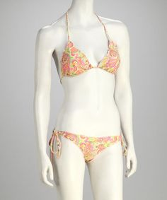 Take a look at this Yellow & Pink Paisley Lettuce-Edge Ruched-Bottom Bikini by Plunge on #zulily today!