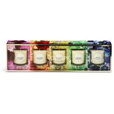 Voluspa Maison Jardin scented votive candle set 85g (£75) ❤ liked on Polyvore featuring home, home decor, candles & candleholders, voluspa, clear glass jars and floral home decor