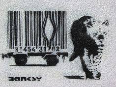 Banksy - Bar-Code Leopard Street Graffiti Stencil Art banksy canvas art, - canvas photo, canvas prints and perspex printing Banksy Graffiti, Stencil Graffiti, Street Art Banksy, Graffiti Artwork, Stencil Art, Bansky, Banksy Artist, Banksy Work, Stencil Street Art