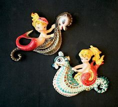Vintage Lefton Mermaid Riding Seahorse Wall Plaques Set | eBay