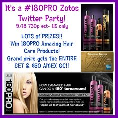 #180Pro Hair Care Giveaway & Twitter Party  Thursday 9/18 730-830p est Join in!!...