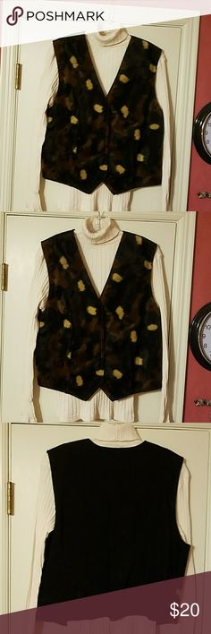 Western Vest only Brown, beige and black western vest. Worn maybe 3 times if that. Lost weight to big now. Love my clothes but had to lose weight health wise. Selling them to replace with smaller clothes. Will be listing many western outfits so if interested keep coming back. Sweater is not for sale vest only. Lucille Other