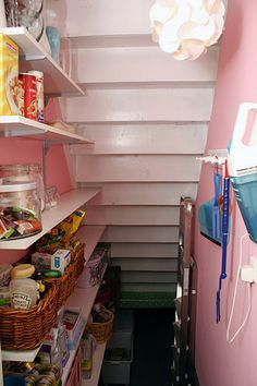 under stairs pantry. Ask architect what is under the stairs? Use that space (secret room.: by adele Stairway Storage, Basement Storage, Basement Stairs, Closet Storage, Larder Storage, Kitchen Storage, Storage Spaces, Storage Ideas, Utility Closet