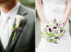 Bouquet and bout by Jennifer Wilson.  The purple center of the callas give the right touch of color against this bride's dress...