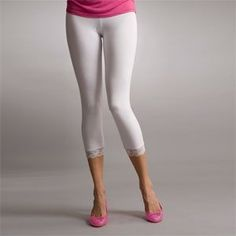 Knee Length White Leggings