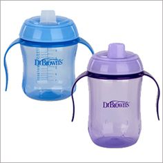 Dr. Brown's sippy cups were our daughters favorites for making the transition from bottle to cup. Check out the others we've tried in our sippy cup reviews.