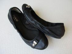 Coach Delphine ballet women shoes size 9 B Black Leather #Coach #BalletFlats #Casual