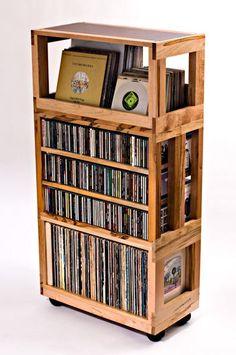 ESTANTES que se enclavija para música y películas Modulares artesanales muebles de LPs, CDs, DVD/Blu-Ray y discos de juegos Nuestro sistema que se enclavija música y película de la estantería incorpora características que ofrecen elegancia incomparable y la flexibilidad para organizar la
