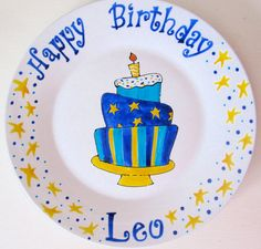 Personalized Birthday Plate Birthday Plate for by AnnasWhimsies Happy Birthday Leo, Special Birthday, Pottery Painting, Ceramic Painting, Sharpie Projects, Birthday Painting, Birthday Plate, Paint Your Own Pottery, Personalized Plates