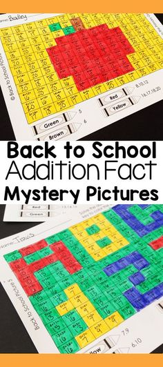 My first graders can always use a little more practice with addition within These fun mystery picture activities help students develop math fact fluency. These are great for early finishers. Second Grade Writing, Teaching Second Grade, Teaching Math, Fun Math Activities, First Grade Activities, Addition Facts, Math Addition, Math Fact Fluency, Back To School Teacher