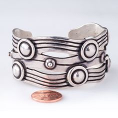 """WILLIAM SPRATLING 980 Silver Made in Mexico Vintage River of Life Cuff Bracelet. Called the """"River of Life"""", this hand-chiseled cuff with…"""