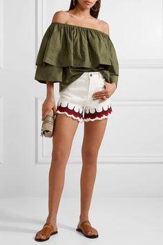 APIECE APART - Neroli Off-the-shoulder Ruffled Cotton-poplin Top - Green - US10