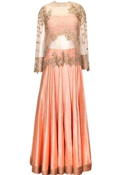 Peach lehenga with embellished cape by Ridhima Bhasin. Shop now: http://www.perniaspopupshop.com/designers/ridhima-bhasin #ridhimabhasin #cape #lehenga #shopnow #perniaspopupshop