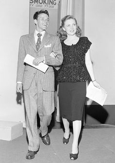 Frank Sinatra and Joan Leslie during rehearsals for her appearance on his radio show, August 1944