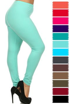 New COLOR B Plus Size One Size Solid Plain Full Long Leggings Stretch XL-3XL 128 #COLORB