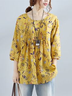 Women Floral Printed Sleeve Vintage Blouses look not only special, but also they always show ladies' glamour perfectly and bring surprise. Moda Hippie, Floral Sleeve, Linen Blouse, Tunic Blouse, Floral Blouse, Pregnancy Outfits, Look Chic, Blouse Vintage, Blouse Styles