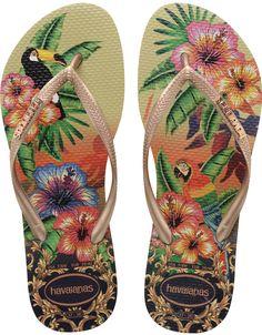 Havaianas Slim Tropical Flip Flops - Sand Grey/Rose                                                                                                                                                     More