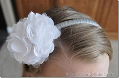 3 different headbands using one type of flower. Picture of Finished-ribbon-wrapped-headband