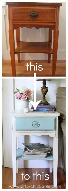 Thrifty End Table Makeover - Chalk Paint - LOVE the different colors for the drawer and the shelf! Buy Annie Sloan Chalk Paint®‎ from local stockist Brenda Brown @ Annex of paredown in Ann, Arbor Refurbished Furniture, Repurposed Furniture, Shabby Chic Furniture, Furniture Makeover, Vintage Furniture, Upcycled Furniture Before And After, Chalk Paint Furniture, Furniture Projects, Diy Furniture