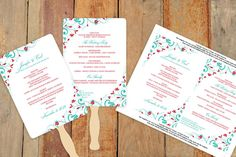 Wedding Fan Program Template - Instant Download - EDIT YOURSELF - Chic Bouquet (Red & Tiffany) 5 x 7 - Microsoft Word Format