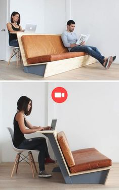 Machen Sie diese moderne Couch, die auch als Schreibtisch dient In this tutorial for a modern DIY couch, you'll learn how to make a couch with a wooden frame and leather cushions, also called … Smart Furniture, Space Saving Furniture, Ikea Furniture, Modern Furniture, Furniture Design, Furniture Stores, Garden Furniture, Barbie Furniture, Refurbished Furniture