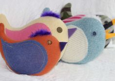Happy Bird Pillow, Handcrafted from Upcycled Sweaters