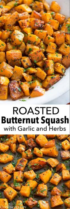 Roasted Butternut Squash - a must have healthy fall side dish! It has a mildly sweet, slightly nutty, buttery flavor and a delicious creamy texture. Then when you add garlic and fresh herbs it adds two more delicious layers of flavor. It's perfect for the Seasoning For Butternut Squash, Butternut Squash Side Dish, Roasted Butternut Squash, Healthy Butternut Squash Recipes, Fall Recipes, Pumpkin Recipes, Healthy Recipes, Thanksgiving Recipes, Crockpot Recipes