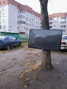 #photo #tree #tv #russia #outdoors #depression #despair #tvviewing #recreation #people #consumersociety #postmodern #jpg #postmodernjpg