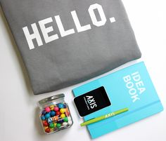 Our welcome kit for new employees!  #welcomekit #newhire #officeinspo #hello