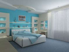 Decoration:Bedroom Interior Brilliant Modern Master Teal Bedroom Design White Vinyl Upholstery Master Bed White Sliding Curtain Window Floating Shelf Decor White Ceiling Painted Brilliant Bedroom Decorating with Brilliant Colors #1