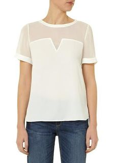 Round neck Short sleeve splicing white top