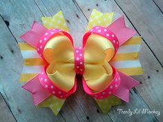 Spring Yellow and Pink Boutique Hair Bow for by trendylilmonkey, $5.99