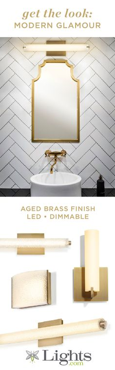 Vanity lights, wall sconces, and LED& to help you create the bathroom of your dreams! Aged Brass finish to give your bathroom renovation a touch of chic modern style. Modern Bathroom Lighting, Vanity Lighting, Wall Sconce Lighting, Home Lighting, Wall Sconces, Bathroom Renos, Bathroom Fixtures, Led, Kitchen And Bath Design
