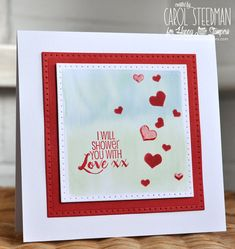 Happy Little Stampers and Heidi Swapp Valentine card. Love the soft watercolour background and the glossy hearts. By Inkyfingered Carol