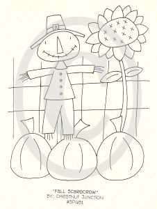 sunflower with scarecrow and pumpkins.