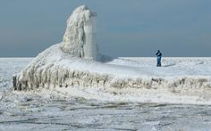 Lighthouse at St. Joseph, Michigan. Lake Michigan.