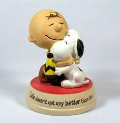 hallmark peanuts figurines   ... Anniversary Hallmark Figurine: Charlie Brown and Snoopy Hug Figurine