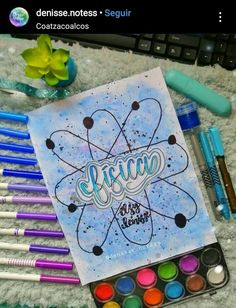 Portada fácil para fisica Bullet Journal Art, Wreck This Journal, Bullet Journal Ideas Pages, Bullet Journal Inspiration, Mandala Doodle, Doodle Art, Cute Banners, Notebook Art, Cute Fonts