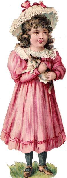Oblaten Glanzbild scrap die cut chromo Kind child XL 24cm Katze cat chat girl
