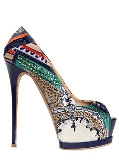 :: Gianmarco Lorenzi Embroidered Printed Satin Pumps - Lyst