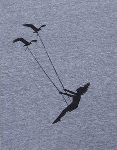Womens volante uccello swing-scoop pista t camicia americana abbigliamento-heather gray-disponibile in S, M, L, XL spedizione in tutto il mondo