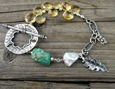 Lovely! Sundance Style Citrine Natural Turquoise Sterling by DeetabyDesign #jewelryonetsy #handmade