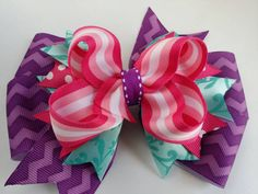 Pink and purple hair bow pink and blue and by BurstingCocoonStudio