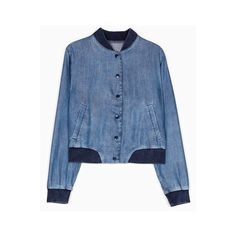 Denim bomber jacket with embroidery detail via Polyvore featuring outerwear, jackets, denim bomber jacket, blouson jacket, blue jackets, blue denim jacket y blue bomber jacket