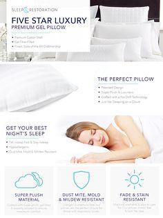 Amazon.com: Sleep Restoration Gel Pillow – (2 Pack Queen) Best Hotel Quality Comfortable & Plush Cooling Gel Fiber Filled Pillow - Dust Mite Resistant: Home & Kitchen