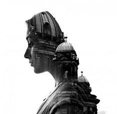 美しい女性と、都市・空・森・建築などを二重露出で美しくブレンドした写真