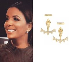 Eva Longoria in our Pave Triangle Ear Jackets - Gold