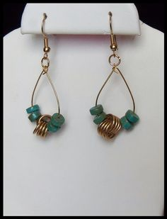 Brass Double Love Knot Brass Green Turquoise Hoop Dangle Earrings by timelessdesigns07 on Etsy